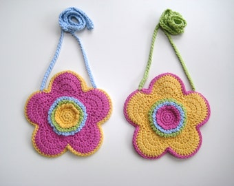Crochet Pattern Flower shaped purse bag INSTANT DOWNLOAD PDF, girl, long strap, cute, uk and us crochet terms, No19