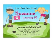 Golf Invitation - Cute Blue Boy and Pink Girl Golfer Personalized Birthday Party Invite - a Digital Printable File