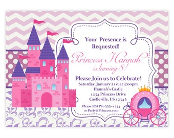 Princess Invitation - Retro Pink Chevron, Purple Damask, Royal Princess Castle Personalized Birthday Party Invite - a Digital Printable File