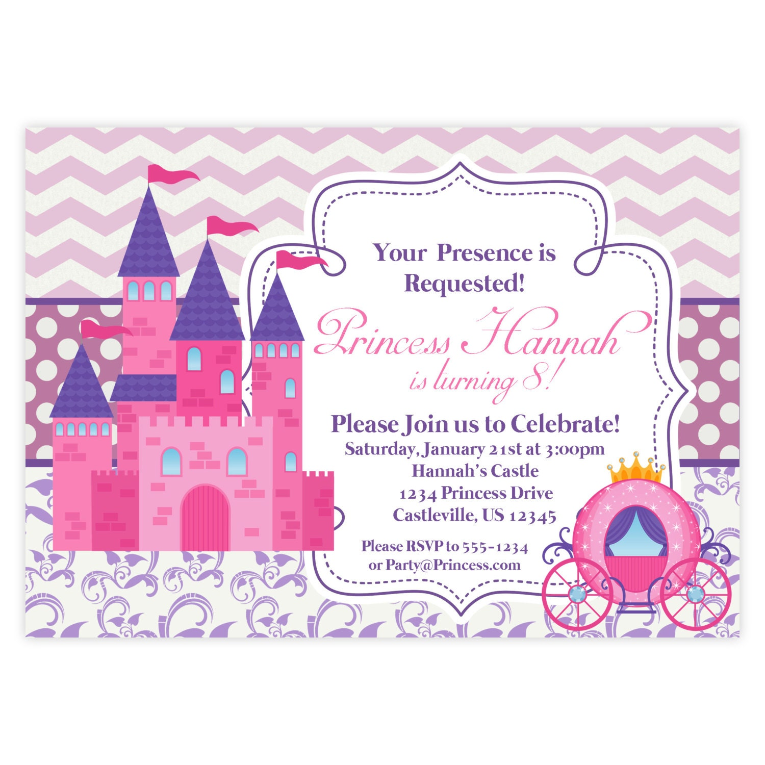 Princess Invites Pertaminico - Party invitation template: princess party invitation template