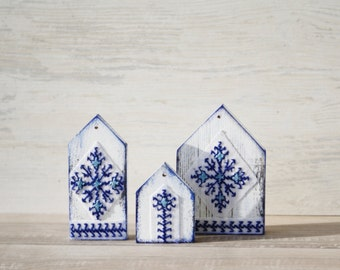 Wooden Houses Ornaments Blue White - set of 3 Hand Painted and decorated with little embroidery patterns Rustic Home decor