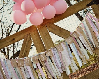Shabby Chic BURLAP BANNER, Sweets Table, Photo Prop