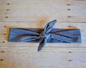 Kyleigh Headwrap Headband- Black Chambray Cotton Headwrap Style Headband