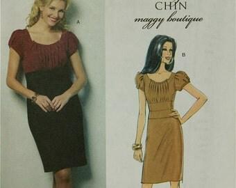"""Dress Pleated Bodice  by Suzi Chin Butterick Pattern 5384 Uncut   Size 8-10-12-14  Bust 31.5-32.5-34-36"""""""