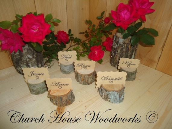 25 rustic place card holders tree card holders place holders rustic wedding decor wood place card holder tree stump
