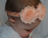 SALE Coral chiffon headband for baby or toddler / Spring Headband / Wedding / Newborn Photo Prop