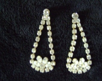 Estate Vintage Rhinestone Chandelier Earrings