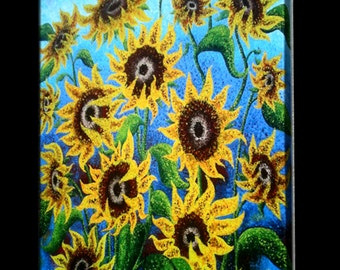 Signed Pre-Stretched Giclee PRINT On CANVAS of Original Yellow Textured Sun Flowers Painting - Sunflower Reflections - 40x30 - LFA Studios