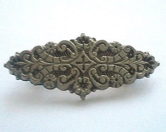 Victorian Silver Mourning Brooch Vintage Antique