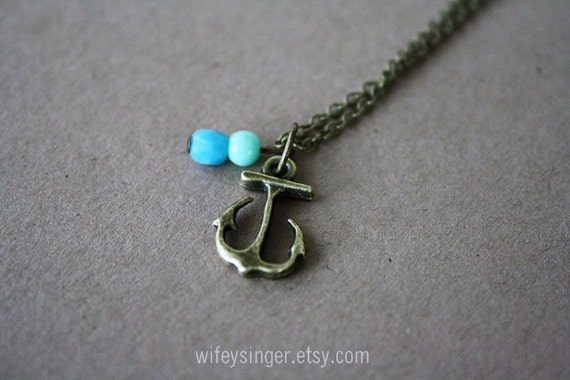 """tiny anchor with aqua and mint czech glass beads 18"""" necklace"""