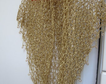 Wedding Shiny Shawl , Hand Crocheted Champagne Gold Shawl Beaded- Elegant, Excellent, Evening, Fashion, Holiday