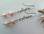 Pink Pearl Frost Earrings with Decorative S Hook