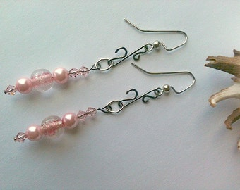 Handmade Pink Pearl Earrings, Dangle Earrings Wire Wrapped