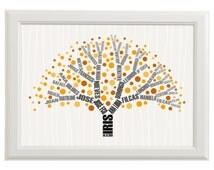 Genealogical tree with genealogy in branches -baby wall art print for nursery decoration-