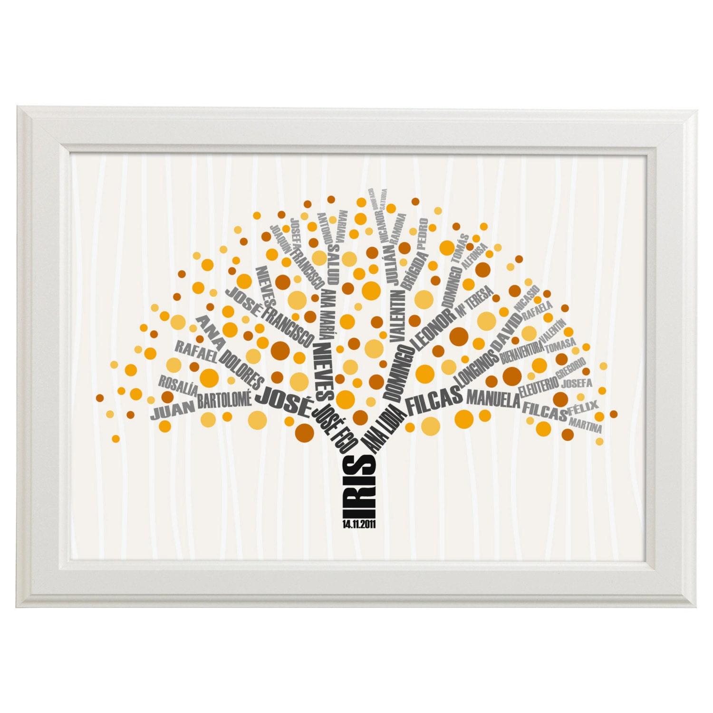 Rbol geneal gico con genealog a en ramas l mina de beb - Laminas decorativas para pared ...