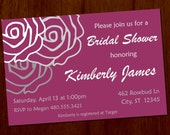 Rose Bridal Shower 4x6 Custom Printable Invitation