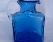 Vintage  Miniature Handblown Aqua Glass Pitcher with Applied Handle