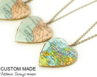 Large Brass Heart Map Locket Necklace, Custom, Personalized, Vintage Heart Locket - Antiqued Brass Chain