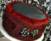 Black, Red and Polka Dots Round Dog Bed , Puffe, Pillow for small dogs