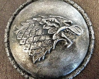 Game of Thrones House Stark Sigil Silver Badge / Pin