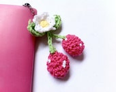 Iphone Dust Plug Crochet Pink Berries with Flower, Handmade Jewelry by Dreambuzzer on Etsy