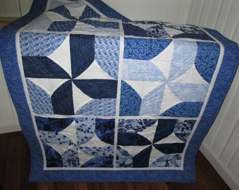 Spinning Blues Quilt - large one of a kind lap quilt