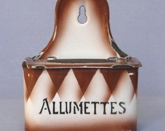 1930s Vintage French Enameled Matches Box with uncommon funky diamond pattern