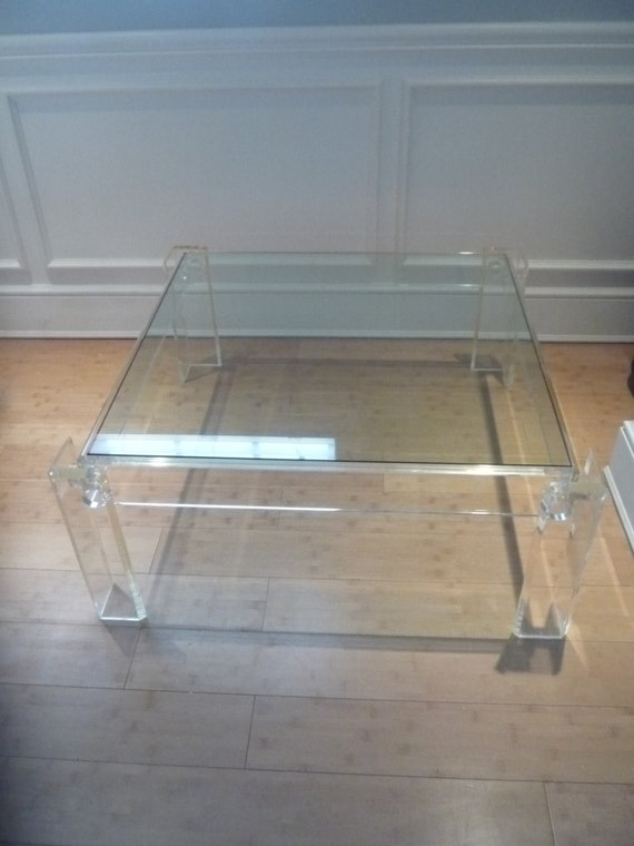 Vintage Lucite Square Coffee Table Hollywood By Feelinvintage
