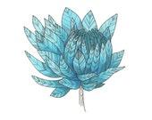 """Blue Flower Art Print 8""""x10"""""""