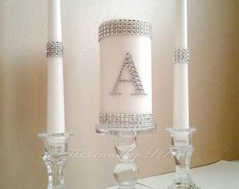 Unity Candle - Unity Wedding Candle Set - Silver Bling Monogram - White Unity Candle Set - Elegant Wedding Candle Set - Wedding Unity Set