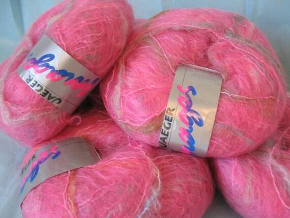 3 Jaeger Images MOHAIR BLEND Yarn skeins in pink blend
