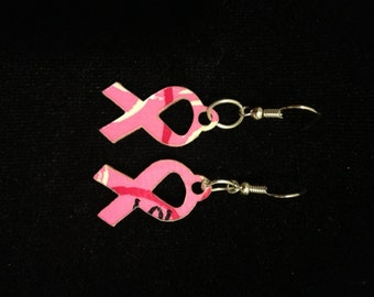 Pink Ribbon Duct Tape Earrings