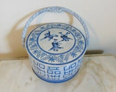 FRICHE & NACKE TIN -  Beautiful Vintage Round Basket Tin with Handle  - Blue and White Jumping Acrobats Asian Design - Made in West Germany