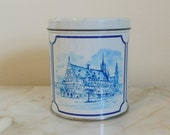 Vintage Delft Motif Dutch Stroopwafels Tin with Dutch Scenes and Made in Holland