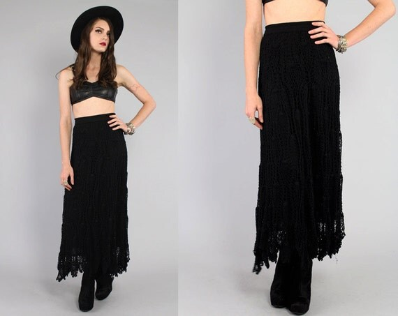vintage 90s black crochet high waist maxi skirt xl l