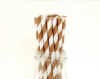 Paper Straws, 25 Brown Chocolate Striped Vintage Style Carnival Circus Wedding Birthday Bridal Baby Shower W/ Printable Flags