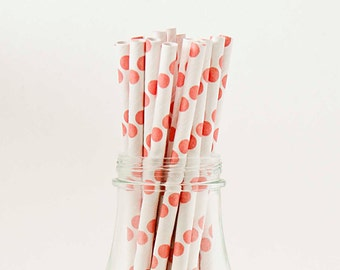 Set of 25 Coral Polka Dot Paper Straws with FREE DIY Printable Flags