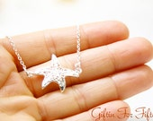 Starfish Necklace, Sterling Silver Plated, Filigree, Diamond Cut Chain, Everyday, Birthday Gifts, Custom Hand Stamped Wedding Jewelry