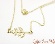Flower Branch Necklace, Gold Plated, Diamond Cut Dainty Chain, Birthday Gifts, Wedding Jewelry, Customized, Hand Stamped, Birthstone Crystal