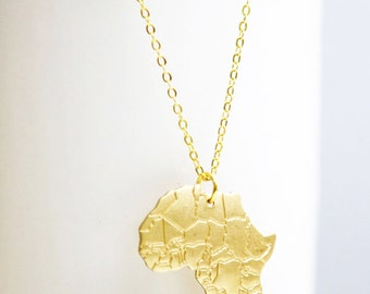 Africa Continent Necklace, Vintage Raw Brass, Diamond Cut Chain, Custom Stamping Available, Monogramming, Birthstone Crystal, Wedding Gifts
