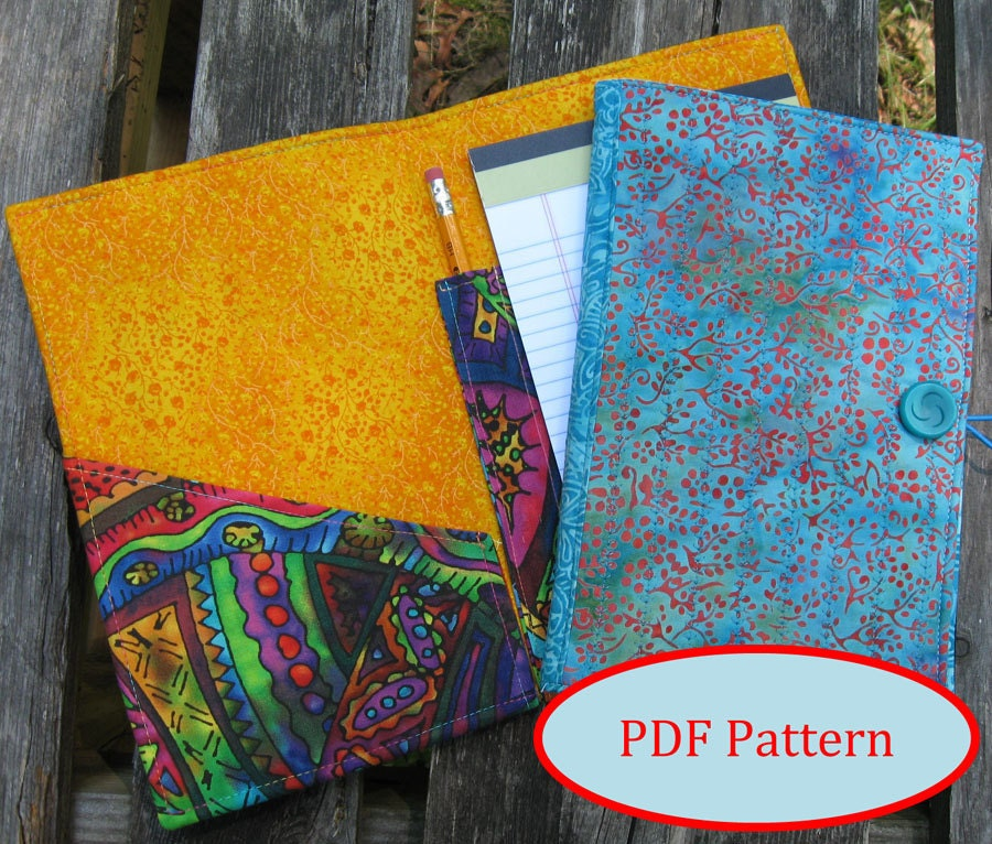 Book Cover Sewing Quarter ~ Notepad cover in two sizes pdf sewing pattern fat quarter