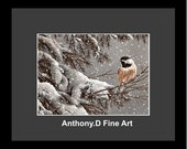 """Original ACEO Painting / Artist PRINT / """"Winter Chickadee"""" Bird Landscape By Anthony D"""