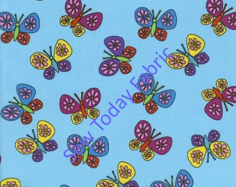 Butterflies on Aqua - Timeless Treasures KIDZ-C8756-AQUA (sold by the 1/2 yard)
