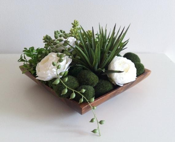 Modern Succulent Floral Arrangement White Green