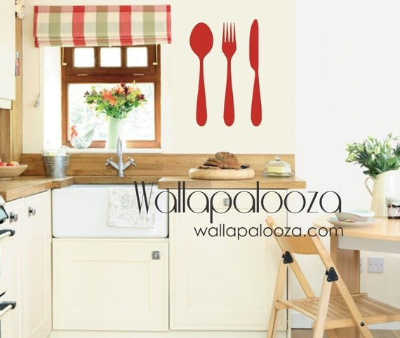 Kitchen Wall Decal - Spoon Fork Knife Wall decal - utensil set wall deca - Kitchen Decorl