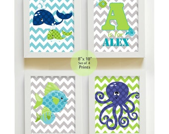 Fish Whale Nursery Art, Ocean Theme Prints, Personalized  Boys Room Decor ,Set of 4 8 x10 Wall Art for Children, Sea Fish Octopus Whale