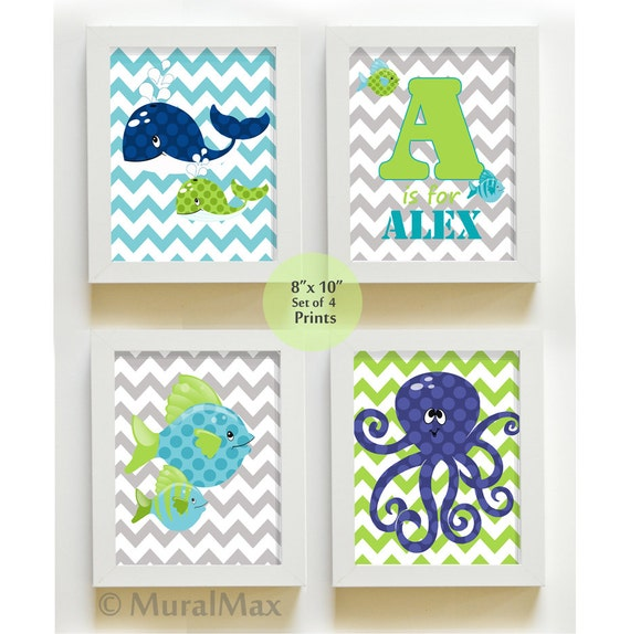 Fish Whale Nursery Art Ocean Theme Prints Personalized By