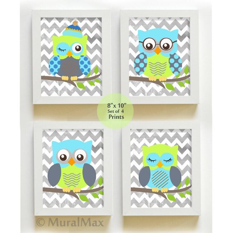 baby room decor owl decor nursery set of 4 prints
