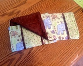 Set of 2 Minky Burp Cloths - Green and Brown Zoo Animals
