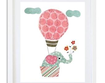 nursery print, nursery decor, kids room wall art,  nursery art, elephant decor, balloon print - come fly with me